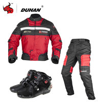 DUHAN Professional Motocross Off-Road Motorcycle Racing Jacket Pants With Boots Set Windproof Riding Protector Gear Clothing