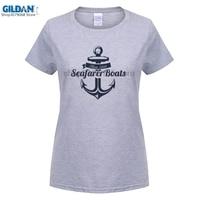 GILDAN ' Retro Sailor Anchor Print Vintage Letter Summer White Hipster Tees