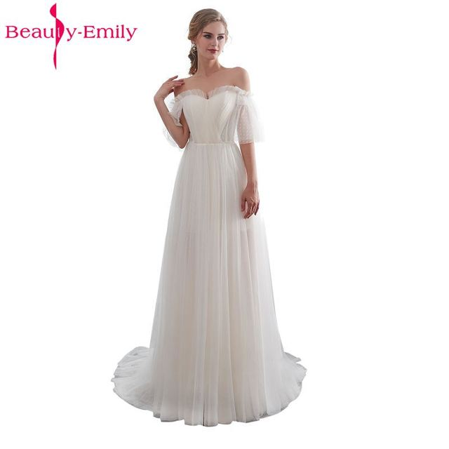 c1b81c07ad Beauty Emily White Lace Formal Evening Dresses 2018 long Plus Size A-Line Evening  Party Dresses Floor-Length Prom Dress Elegant