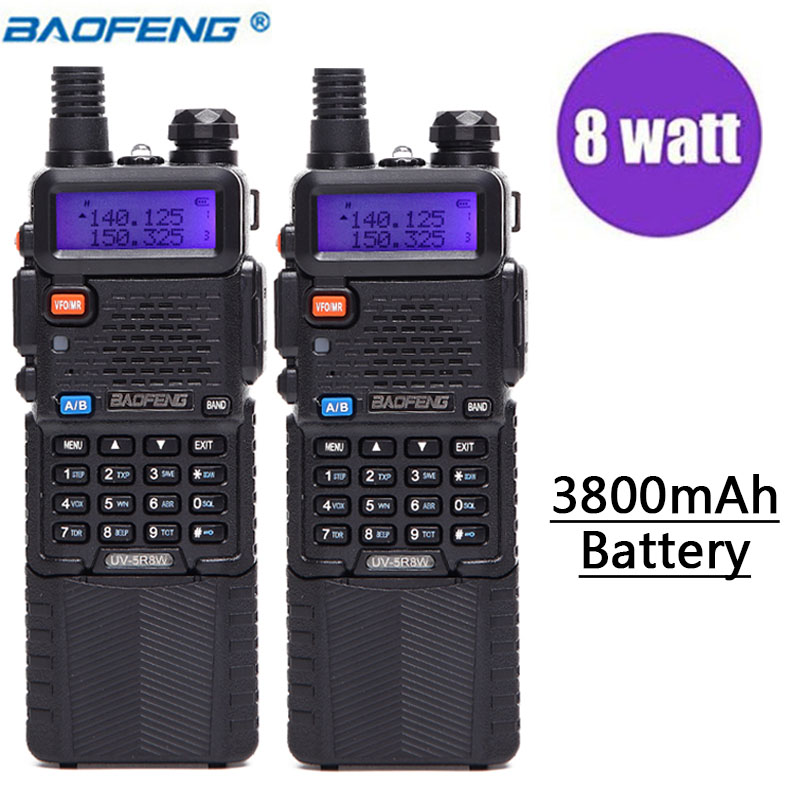 2 pcs Baofeng UV-5R 8 w Haute Puissance Version 10 km Long Rang Deux Way Radio VHF UHF Double Bande UV 5R Portable Radio UV5R Talkie Walkie