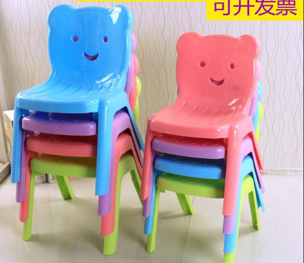 2pcsChildren's kindergarten table and chair backrest plastic extra thick stool.