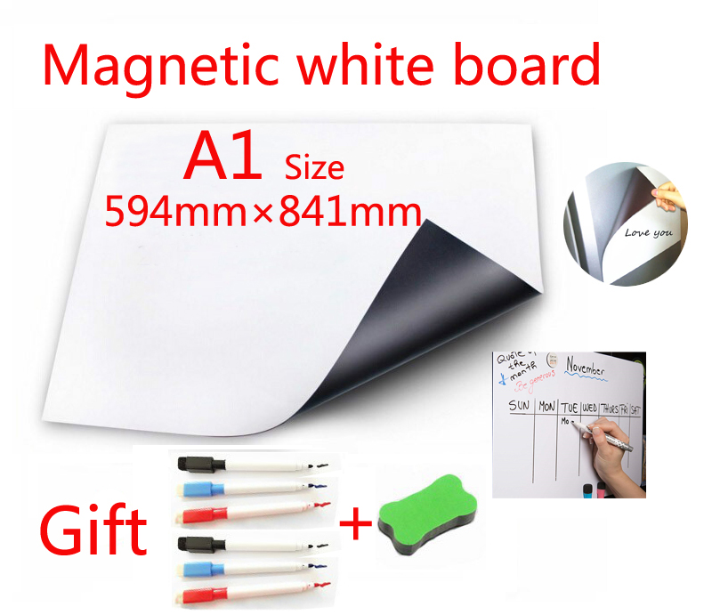 A1 Size Magnetic School White Board Fridge Magnets Wall Stickers Whiteboard for Kids Home Office Dry