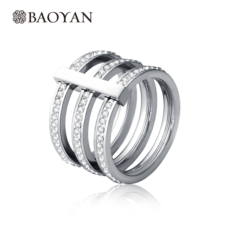 Pave Crystal 3 Multi Layer Women Rings Silver Plated Round Stainless Steel Unique Rings Christmas Gifts For Friends Wholesale N1