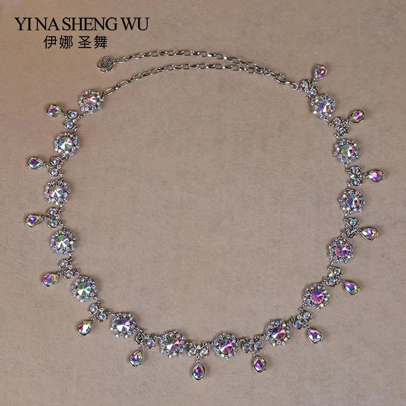 2018 New Belly Dance Waist Chain Belly Dance Belt Rhinestones Ornament Oriental Dancing Waist Chain Metal Rhinestone Waist Chain