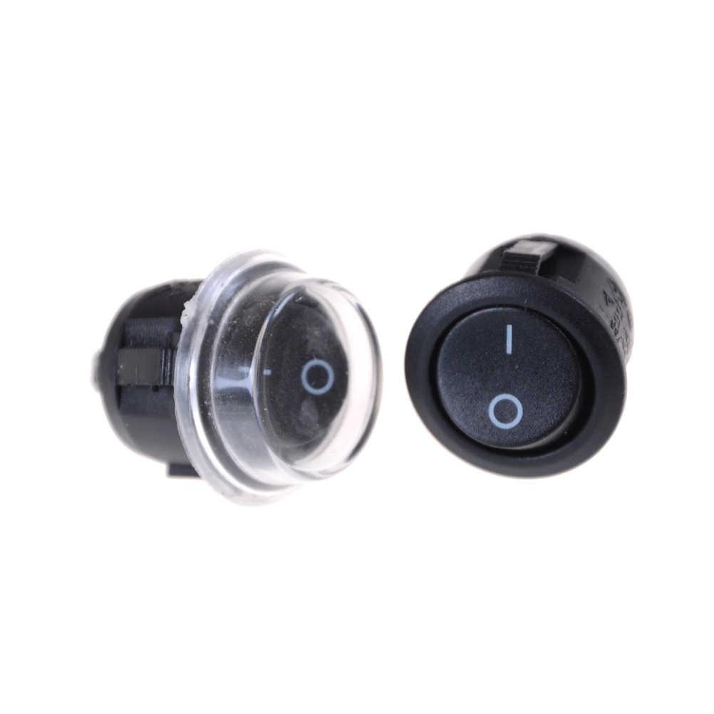 5 pièces interrupteur à bascule bateau rond noir KCD2 2Pin 2 fichier interrupteur à bascule 6A250V 10A125V interrupteur d'alimentation avec couvercle étanche Transparent