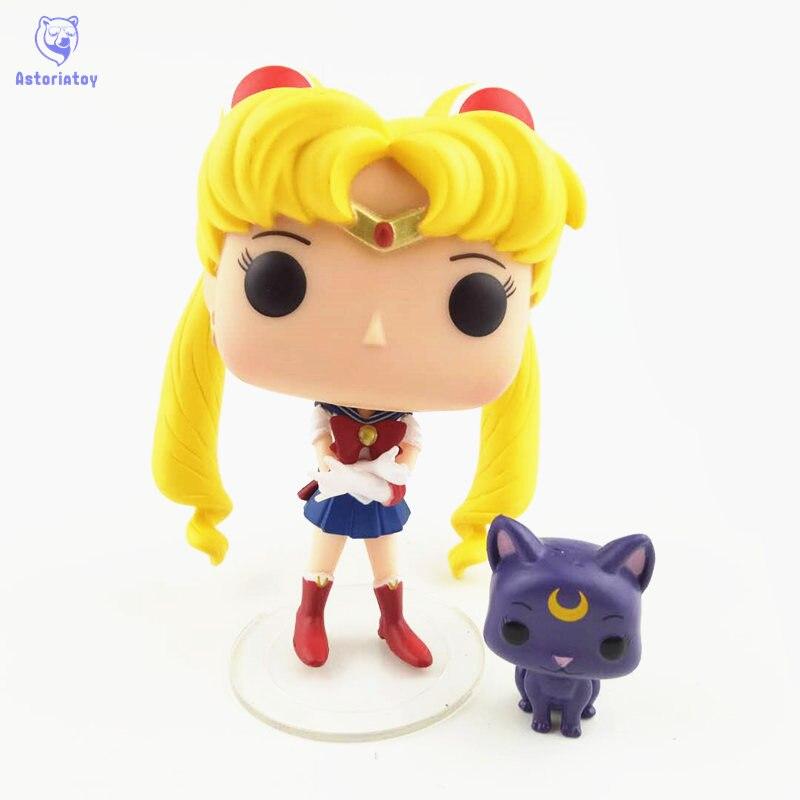 NEW 10cm Sailor Moon Luna action figure Bobble Head Q Edition new box for Car Decoration
