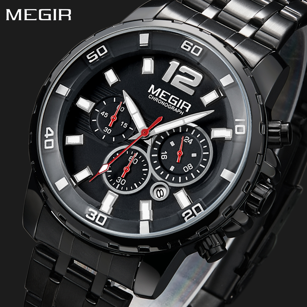 Megir Luxury Brand Sport Watch Men Black Quartz Chronograph Clock Stainless Steel Waterproof Man Military Men's Watches Relogio bore 20mm 150mm stroke ma series stainless steel double action type pneumatic cylinder air cylinder