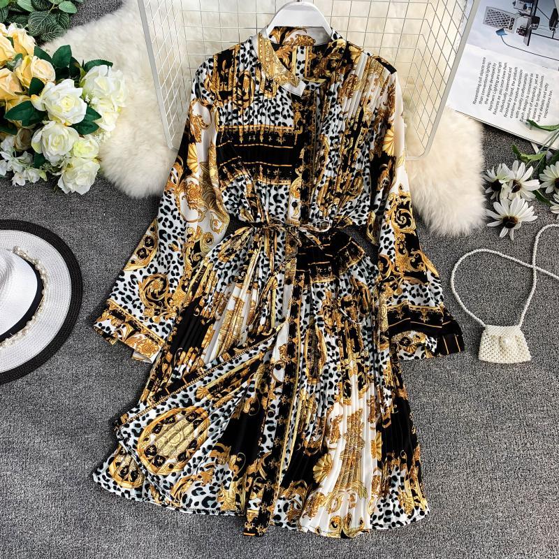 Summer Women Leopard Print Beach Holiday Kaftan Oversized Pleat Party Long Dress