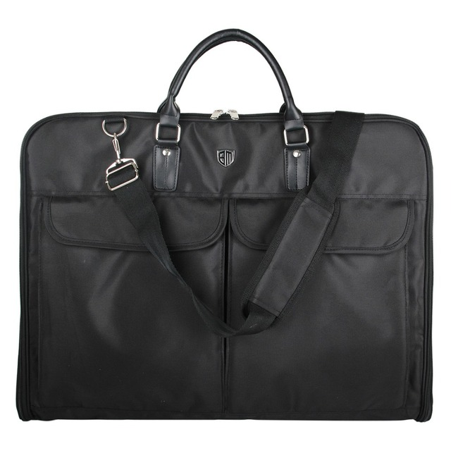 Lightweight Black Nylon  Business Dress Garment Bag With Hanger Clamp Waterproof Suit Bag Durable Men'S Garment Suit Travel Bag
