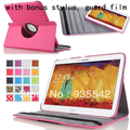 Hot Pink 360 Rotating PU Leather Stand Case Cover + Film + Stylus for Samsung Galaxy Note 10.1 2014 Edition SM-P600 P601 P605