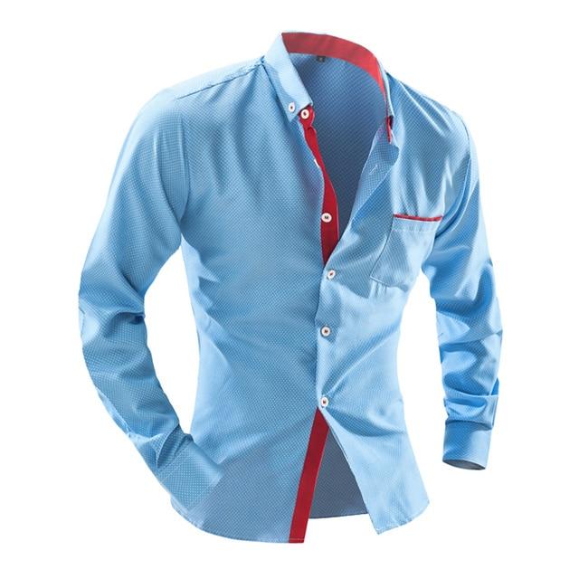 eb87de926142 2016 Newest style UK fashion design classic boy's shirts M-2XL full sleeve  young mens casual shirt polka dots Slim fit free ship