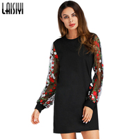 LAISIYI Fashion Mesh Floral Embroidery Mini Dress Patchwork Black Women Sexy Party Spring Slim A Line