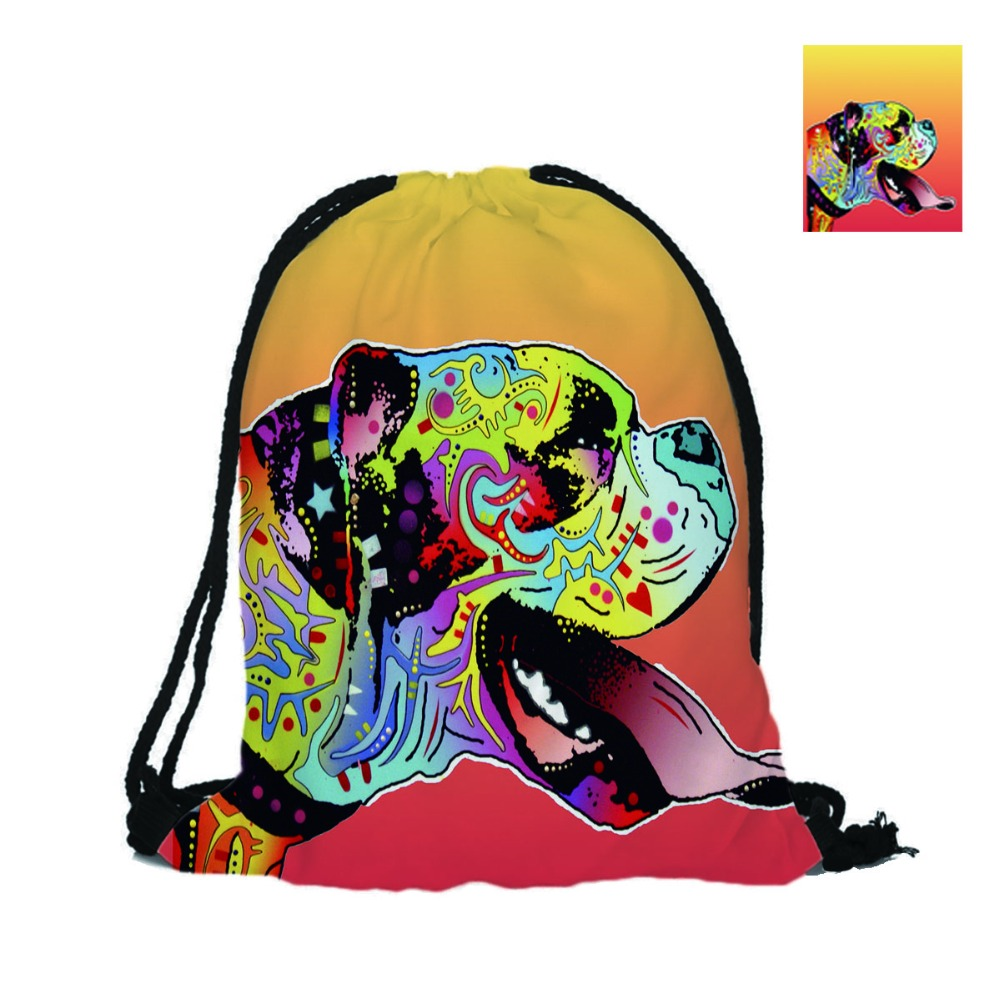 Boxers Designs Printing Backpacks Lovely Dogs Bags Unisex Drawing Bad With Double Sided Print For Shopping Daily Use