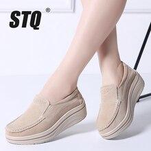 STQ 2020 가을 여성 슬립 플랫 신발 숙녀 플랫폼 스니커즈 신발 가죽 스웨이드 캐주얼 크리퍼 모카신 신발 8338