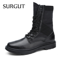 SURGUT 2018 Brand Fashion Army Boots Men Comfortable Working Boot Shoes Autumn Winter Breathable Combat Mid