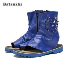 Male Sandalia Shoes Men's Leather Sandal Summer Cool Sandal Boots for Men Party and T-show Beach Sandals Men Designer's