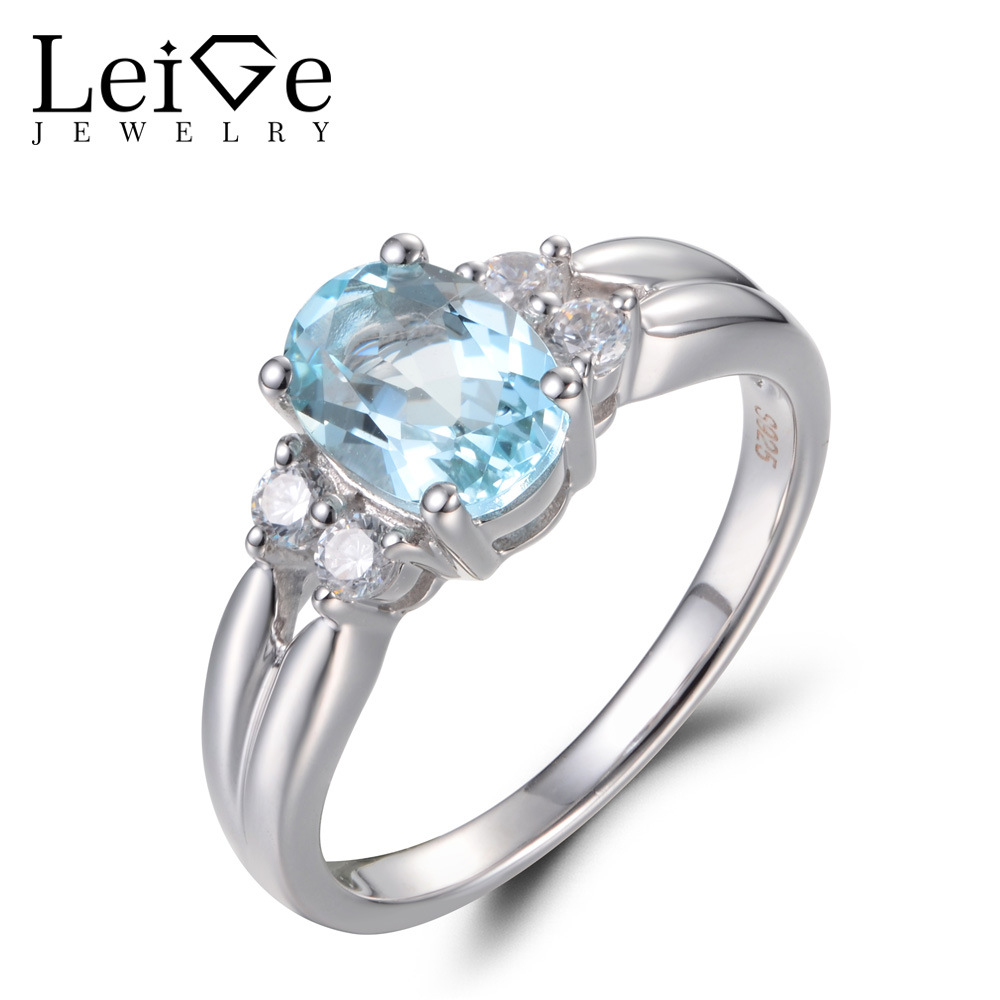 Leige Jewelry Real Natural Aquamarine Engagement Rings Oval Cut Blue Gems Ring March Birthstone 925 Sterling Silver Fine JewelryLeige Jewelry Real Natural Aquamarine Engagement Rings Oval Cut Blue Gems Ring March Birthstone 925 Sterling Silver Fine Jewelry