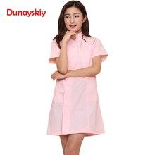 Новая мода короткий рукав стоячий воротник женское медицинское пальто униформа медицинская лабораторная куртка больница тонкая розовая синяя и белая форма медсестры