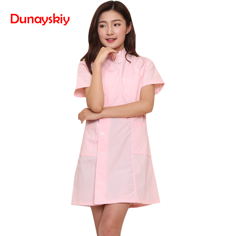 NewFashion Short Sleeve Stand Collar Women Medical Coat Uniform Medical Lab Coat Hospital Slim Pink Blue And White Nurse Uniform