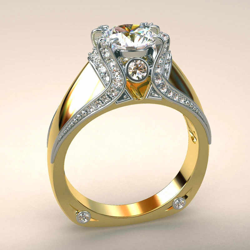 Vintage خاتم حجر الزركون الإناث نمط فريد كريستال الفضة الذهب اللون خاتم الزفاف وعد خواتم الخطبة للنساء