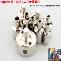 8 50mm Diamond Coated Tool Drill Bit Glass Ceramic Marble Tile Hole Saw 10pcs