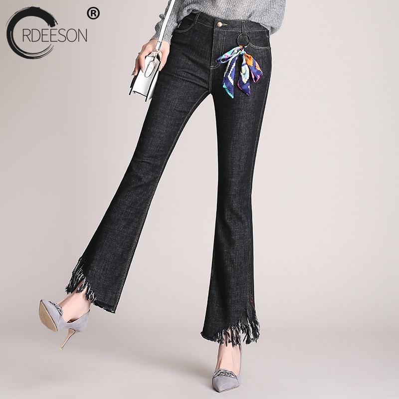 Oscuro Cintura Más Mujeres Alta Azul Primavera Ripped 2018 Vaqueros Negro Flaco Para Pantalones Ordeeson Las gris Flare Moda Tamaño Borla Corea qRxtWBBnw4