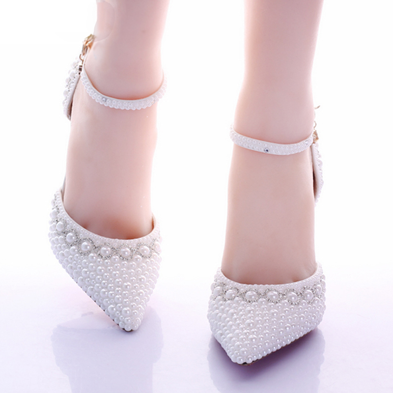 2017 New White Pearl Diamond Wedding Shoes High Heels Bride Dress Shoes Show Party Sandals Two Pieces Women's Pumps Thin Heels-in Women's Pumps from Shoes    2
