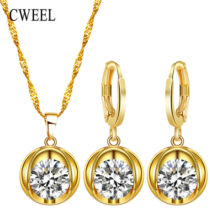 CWEEL Jewelry Sets Fashion African Jewelry Set Nigerian Wedding Zircon Jewerly Sets For Women Gold Color Ethiopian Jewelry