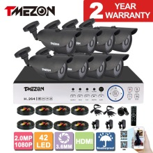 Tmezon AHD 8CH 1080P DVR 8pcs 2.0MP 1080P Camera Security Surveillance CCTV System Auto IR-Cut Night Vision 30meter 1TB 2TB Kit