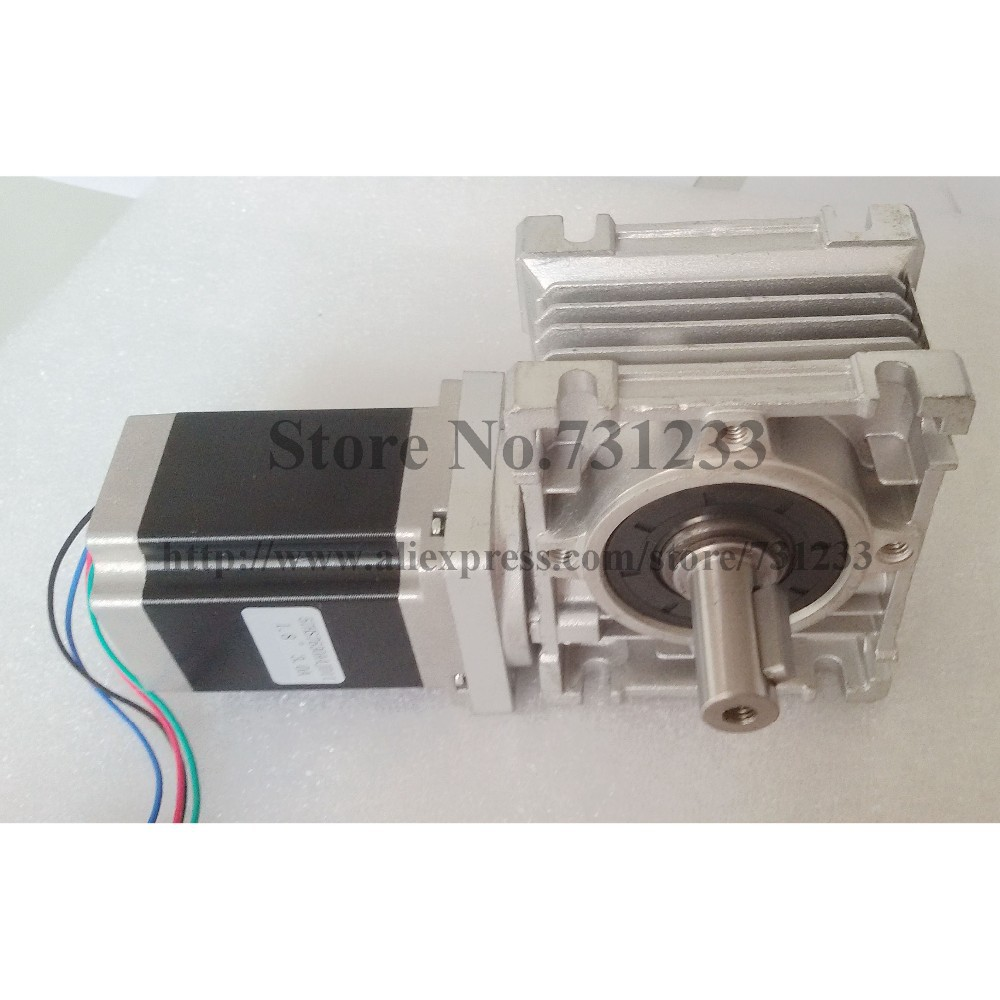 3pcs/lot NEMA 23 Worm Gearbox Stepper Motor 7.5:1-80:1 CE ROHS Motor Length 56mm 153oz-in Nema23 Worm Reducer Gear Stepper Motor