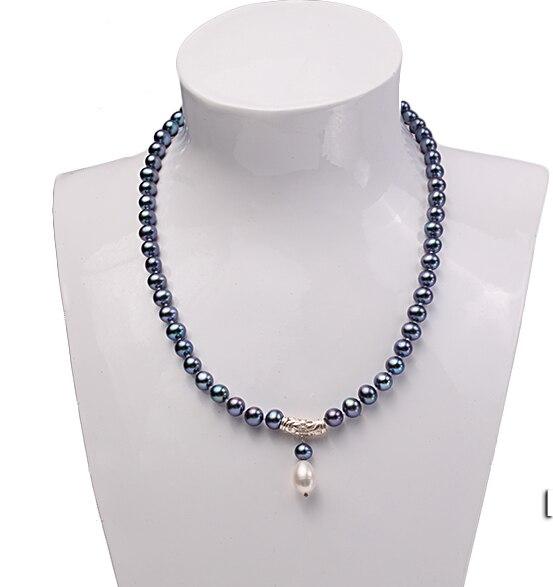 √Boda mujer AA 18 \'\'8-9mm azul negro perla de agua dulce de la ...