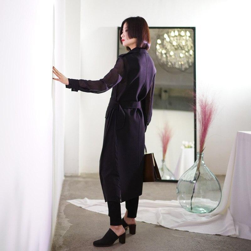 Femmes 2019 Nouveau Décontracté Porter Manteau brise V Automne Noir De Reçu Britannique Vestes Style Profond Pare Long EqEY51