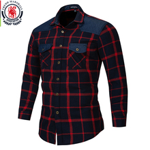Fredd Marshall 2018 Autumn Double Button Down Pockets Plaid Shirt Long Sleeve Casual Patch Shirts Male Regular Fit Plus Size 172