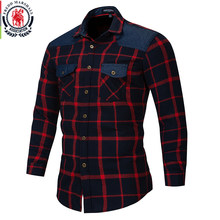 Fredd Marshall 2018 Autumn Double Button Down Pockets Plaid Shirt Long Sleeve Casual Patch Shirts Male Regular Fit Plus Size 172(China)