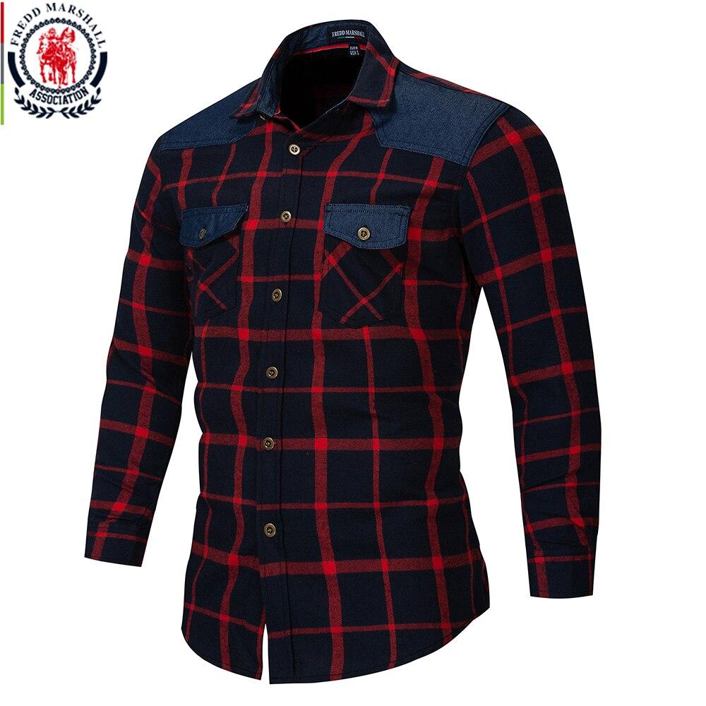 Fredd Marshall , 2018, осенняя клетчатая рубашка с двумя пуговицами и карманами, повседневная мужская рубашка с длинным рукавом и заплатками, обычная посадка размера плюс 172Повседневные рубашки   -