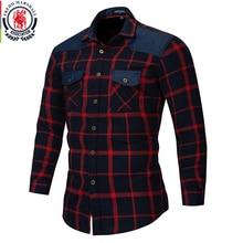 Fredd marshall 2018 outono botão duplo para baixo bolsos camisa xadrez manga longa casual remendo camisas masculino regular ajuste mais tamanho 172