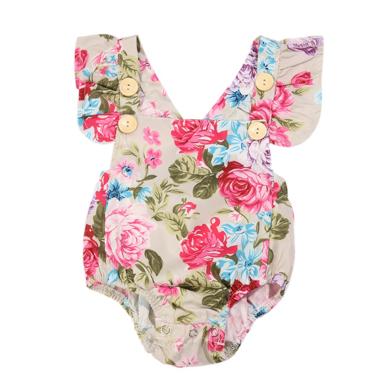 Newborn Baby Girls Sleeveless Romper Floral Jumpsuit Cute Button Backless Outfits 0-12M