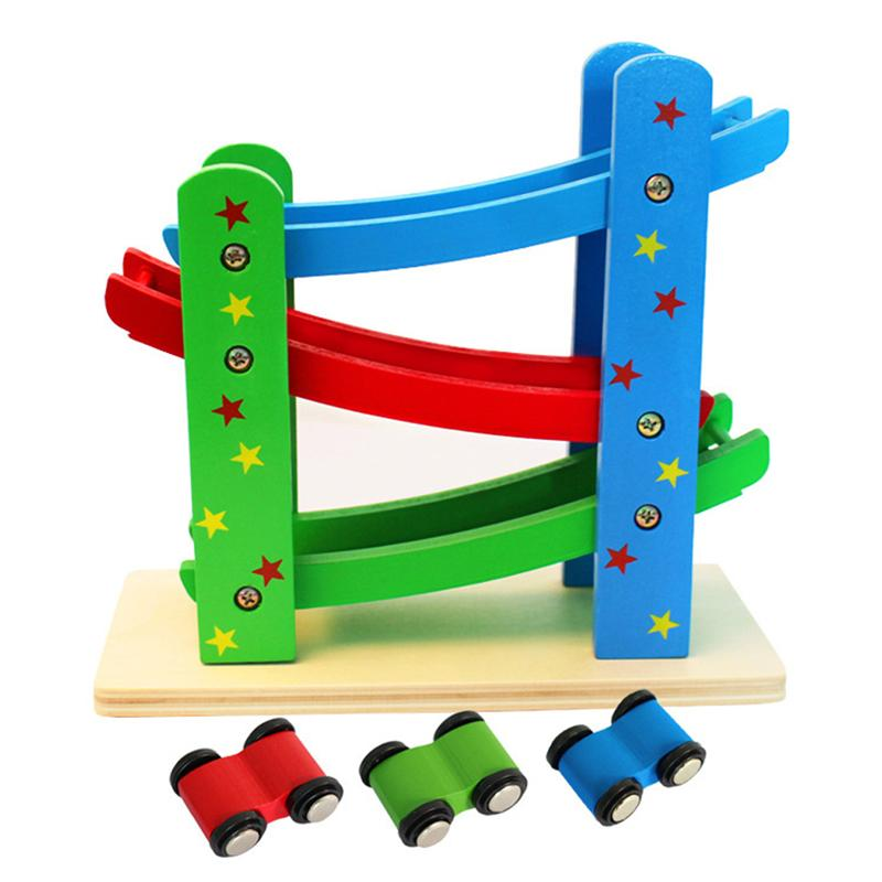 Durable Children Wooden Ladder Gliding Car Toys Kids Wooden Slot Track Car Educational Model Sliding Ramps Toy Baby Gift