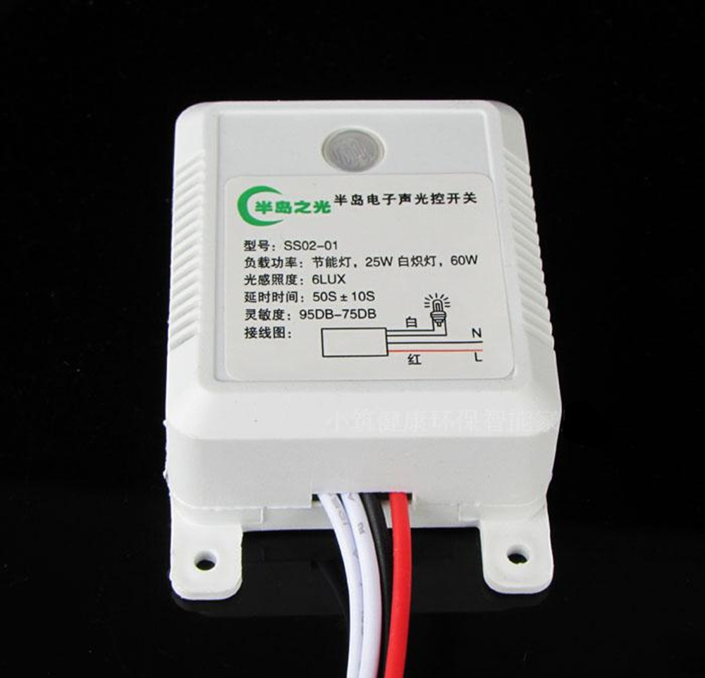 high quality sound and light control switch delay 60S sensor switch 220V AC 50HZ 60W 25W 5W 95DB-75DB free shipping