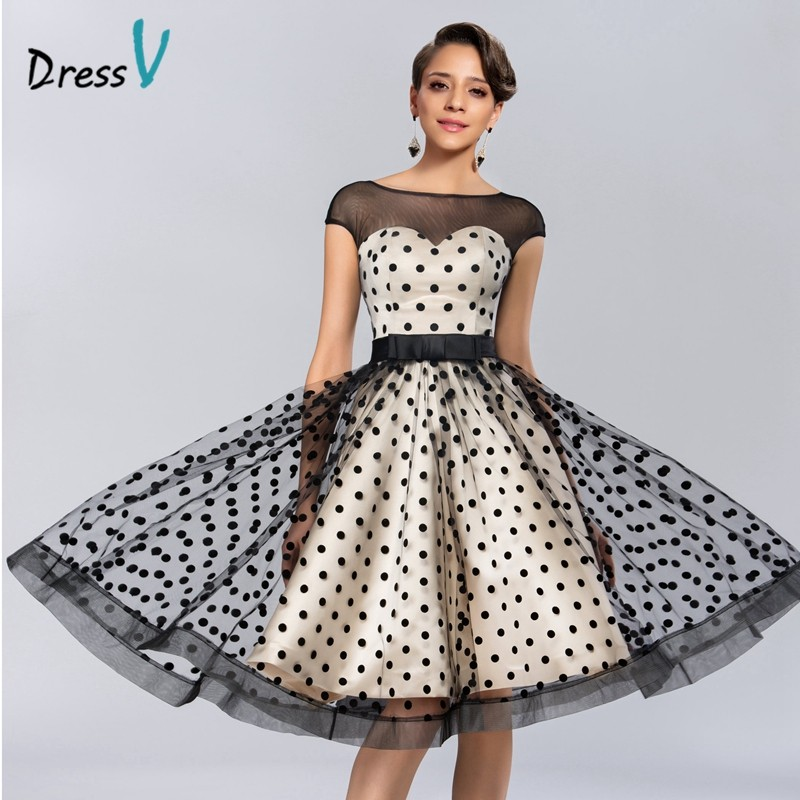 Dressv Knee-length Cocktail Dresses 2019 Polk Dot Pattern Dresses to Party Homecoming Dresses Sheer Boat Neck Graduation Dresses