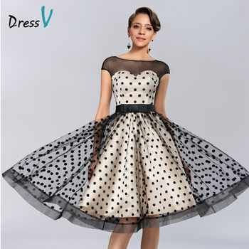 Dressv Knee-length Cocktail Dresses 2019 Polk Dot Pattern Dresses to Party Homecoming Dresses Sheer Boat Neck Graduation Dresses - DISCOUNT ITEM  37% OFF All Category