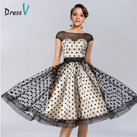 Dressv Knee length Cocktail Dresses 2017 Polk Dot Pattern Dresses to Party Homecoming Dresses Sheer Boat Neck Graduation Dresses