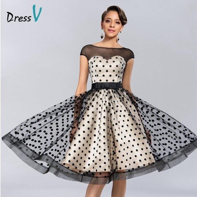 Dressv rodilla Vestidos de cóctel 2017 Polk dot pattern Vestidos fiesta Vestidos de fiesta Sheer barco