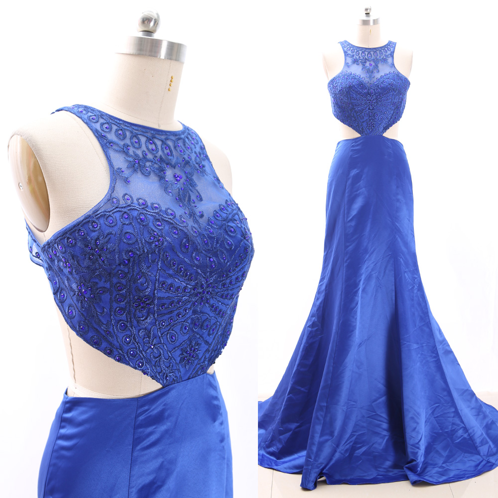 MACloth Blue Sweep Train Scoop Neck Floor-Length Long Crystal Tulle   Prom     Dresses     Dress   S 266307 Clearance