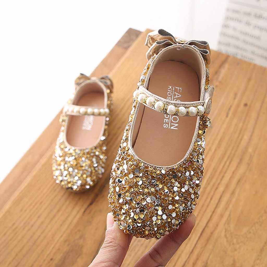 summer kids sandals for girls wedding Pearl Princess shoes Children Kids Cute Crystal Bowknot  Dance Single Casual Shoes #XTN