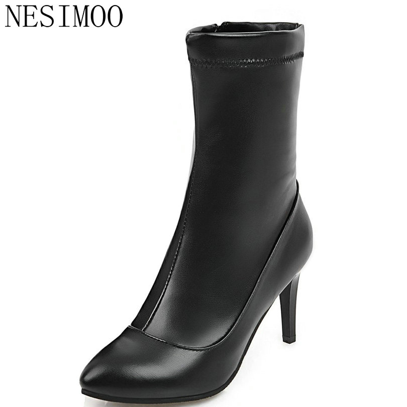 NESIMOO 2018 Women Shoes Mid Calf Boots PU Leather Zipper Fashion Thin High Heel Round Toe Ladies Motorcycle Shoes Size 34-43