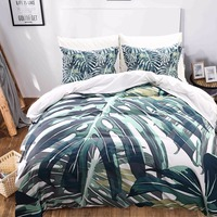 Tropical Plants Bedding Set Bedroom Decor Green Leaves Printed Pattern Duvet Cover Set Queen King Size