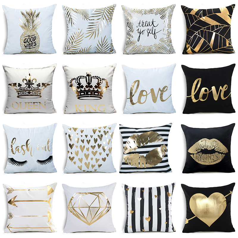 Hyha KING&QUEEN Bronzing Cushion Cover LOVE Kiss Cotton Polyester Geometric Printed Lips Home Decorative Pillow Cover Pillowcase chic fringed printed cover up