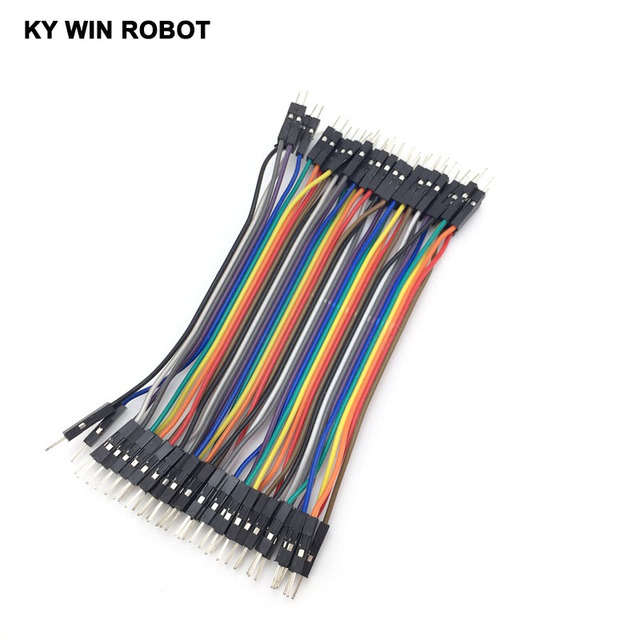 Dupont line 40pcs 10cm 2.54mm 1p-1p Pin Male to Male Color Breadboard Cable Jump Wire Jumper For Arduino