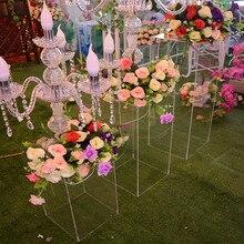 Acrylic Wedding Flower Stand Aisle Crystal Square Column Wedding Festival Decoration Flower Frame Road Decoration Column